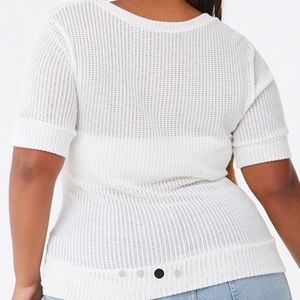 Forever 21 Tops - White Twisted Crop Sweater